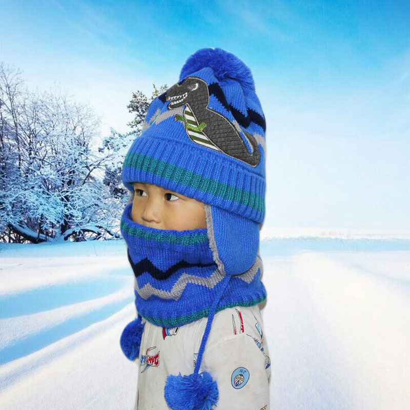 SUOGRY Hot Ski Children 2018 New Brand Big Ball Scarf Knitted Winter Hat Boy Beanie Hat Thick Skullies Female Cap