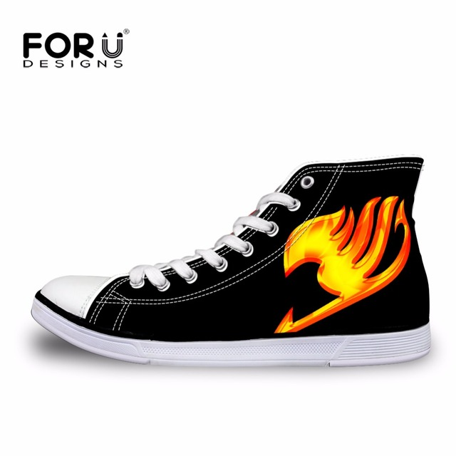 FORUDESIGNS Fashion Women High Top Canvas Shoes Anime Attack on Titan Shoes for Woman Ladies Fairy Tail Lace-up Vulcanize Shoes