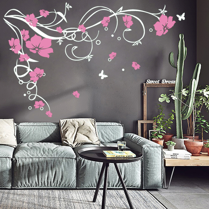 j3 large butterfly vine flower vinyl removable wall stickers tree