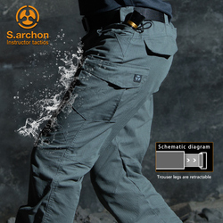 s.archon  Waterproof Tactical Military Pants Men Special Army Combat Cargo Pants Multi Pocket Rip-stop