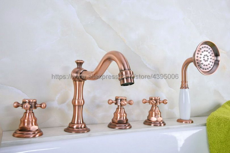 Bathtub Faucet Deck Mounted 5 Hole 3 Handle Bathroom Bath Roman Tub Brass Basin Sink Mixer Faucet With Handshower Btf223Bathtub Faucet Deck Mounted 5 Hole 3 Handle Bathroom Bath Roman Tub Brass Basin Sink Mixer Faucet With Handshower Btf223