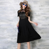 Summer Black Lace Dresses New Europe Big Water Sexy Lace Stitching Chiffon Dresses Online Shop Clothing