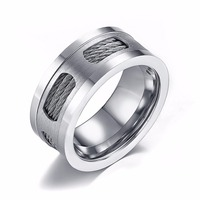 Hot 316L Stainless Steel Rings For Men Silver Color Titanium Metal Male Finger Rock Ring With