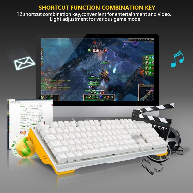 James Donkey Gaming Mechanical Keyboard 104keys Gateron Switches USB Wired Keyboard with Yellow Backlit for Mac