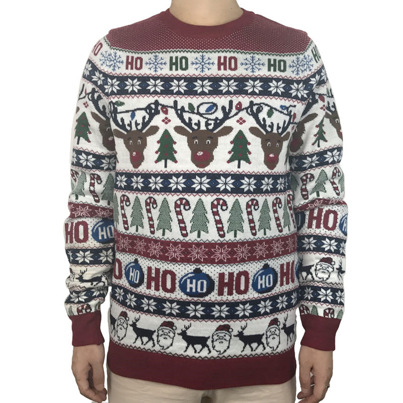 Funny Light Up Ugly Christmas Sweater for Men and Women Cute Reindeer Santa Patterned Xmas Pullover Jumper Plus Size S-2XL 2
