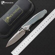 VENOM 4 Asa Kevin John S35VN Titânio SÓLIDO Flipper faca dobrável faca de cerâmica rolamento de esferas camping caça bolso faca ferramentas EDC