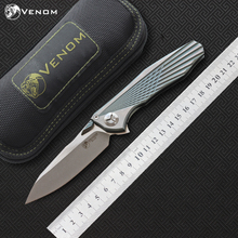 VENOM 4 Wing Kevin John S35VN SOLID Titanium Flipper folding knife ceramic ball bearing camping hunting pocket knife EDC tools