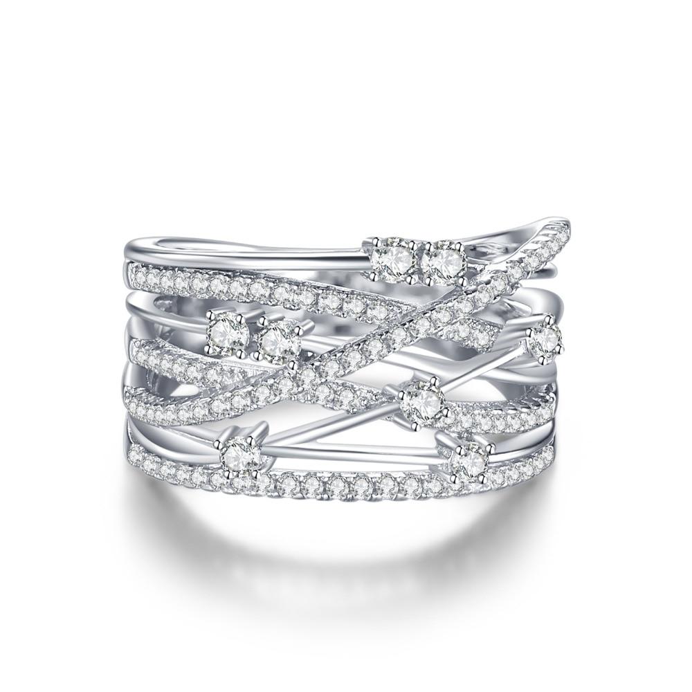 SmyckenPalace Lyxigt Runt Bredband Cocktail Ring För Kvinnor Äkta - Fina smycken - Foto 2