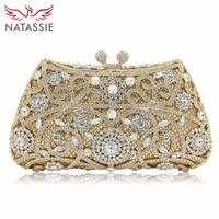 2016 Fashion Trend Luxury Flower Rhinestone Evening Bag Mini Women Wedding Party Clutch Purses Gold Silver