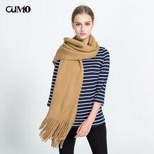 [OuMo] brand Autumn winter Cashmere scarf women's Solid long shawl tassel Knitting wool Student girl Keep warm 175*47cm