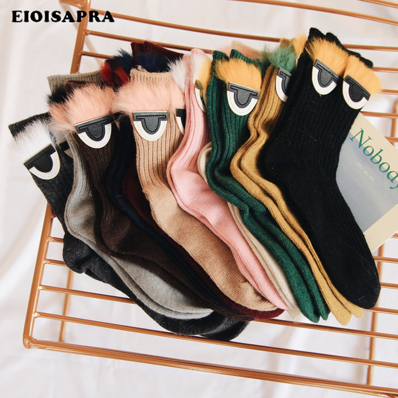 [EIOISAPRA]Korean Fashion Eyes Pattern   Socks   Women Japan Harajuku Wool Meias Warm Candy Color Calcetines Mujer