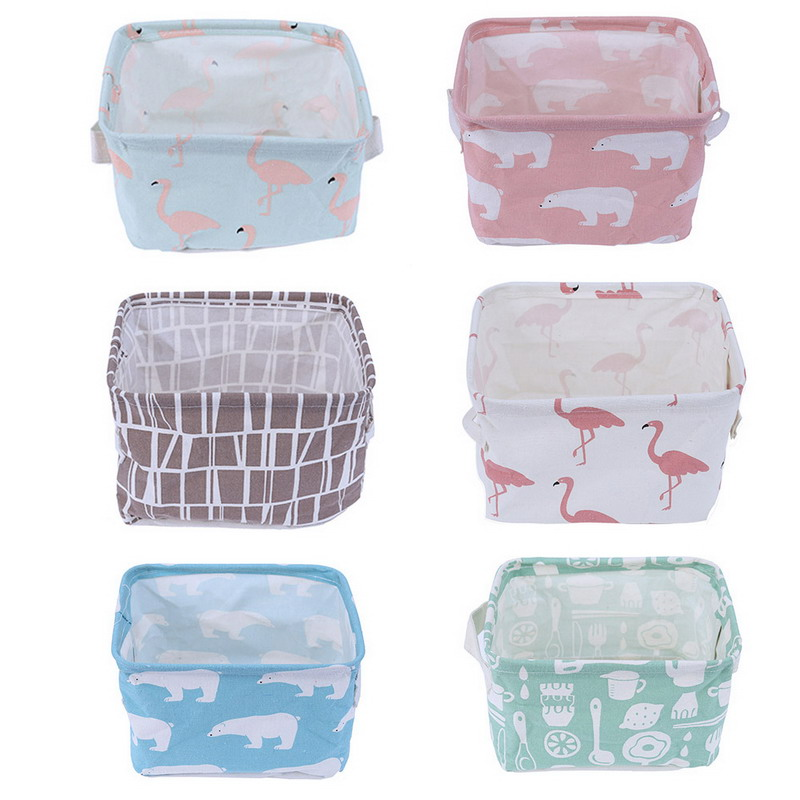 Tnukk Storage Basket DIY Desktop Folding Linen Toy Storage Box Pastoral Floral Animal Jewelry Makeup Organizer