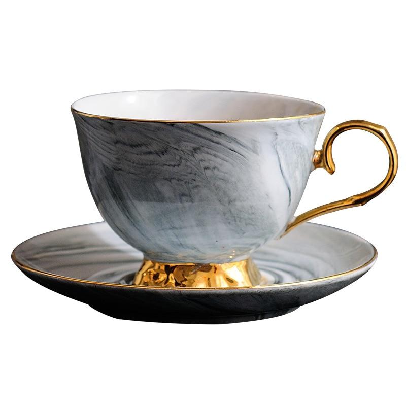 High quality Marbled Ceramic Coffee Mug Dish Set,Couple Cups Advanced Porcelain tea Mug English Afternoon TeaCup black Tea Cup