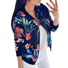 Черный ретро цветочный принт Женская короткая весенняя куртка с О-образным вырезом с длинным рукавом Тонкий женский Бомбер куртка размера плюс тонкая куртка на молнии
