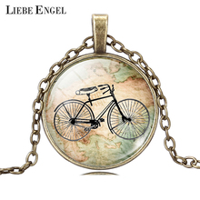 LIEBE ENGEL Vintage Bicycle & Map Glass Cabochon Necklace Fashion Bronze Silver Color Jewelry Glass Statement Chain Necklace