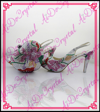 Aidocrystal hand made crystal flowers pattern italian designer shoes and bags/ african sexy low heel shoes and bags