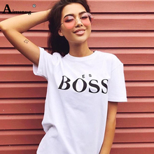 Female T Shirt 2019 New Summer Casual Tops Boss Letter Printed O-Neck Fashion Tee Shirts Short Sleeve Cotton T-Shirt for Women недорого