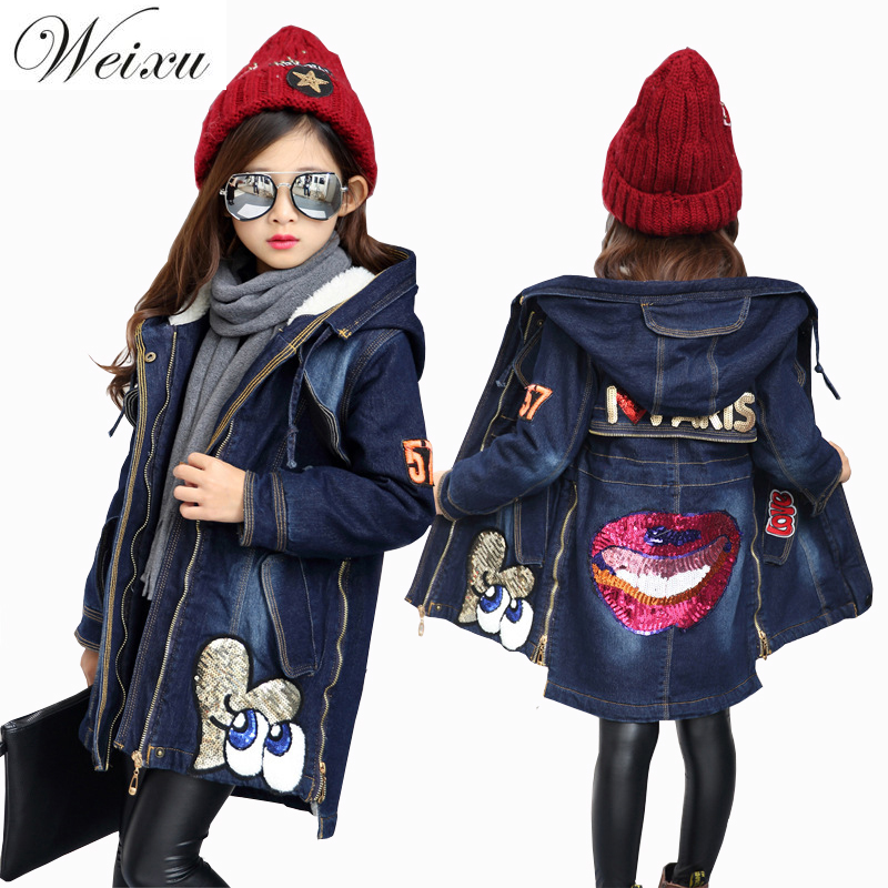 Fashion Winter Denim Jackets For Girls Fleece Lined Sequined Outewear Jeans Jacket Children Kids Thicken Warm Long Coat Clothing fleece lined jacket with epaulet