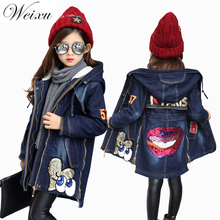 Fashion Winter Denim Jackets For Girls Fleece Lined Outwear Parkas Children Clothing Sequined Kids Thicken Warm Trench Long Coat цена 2017
