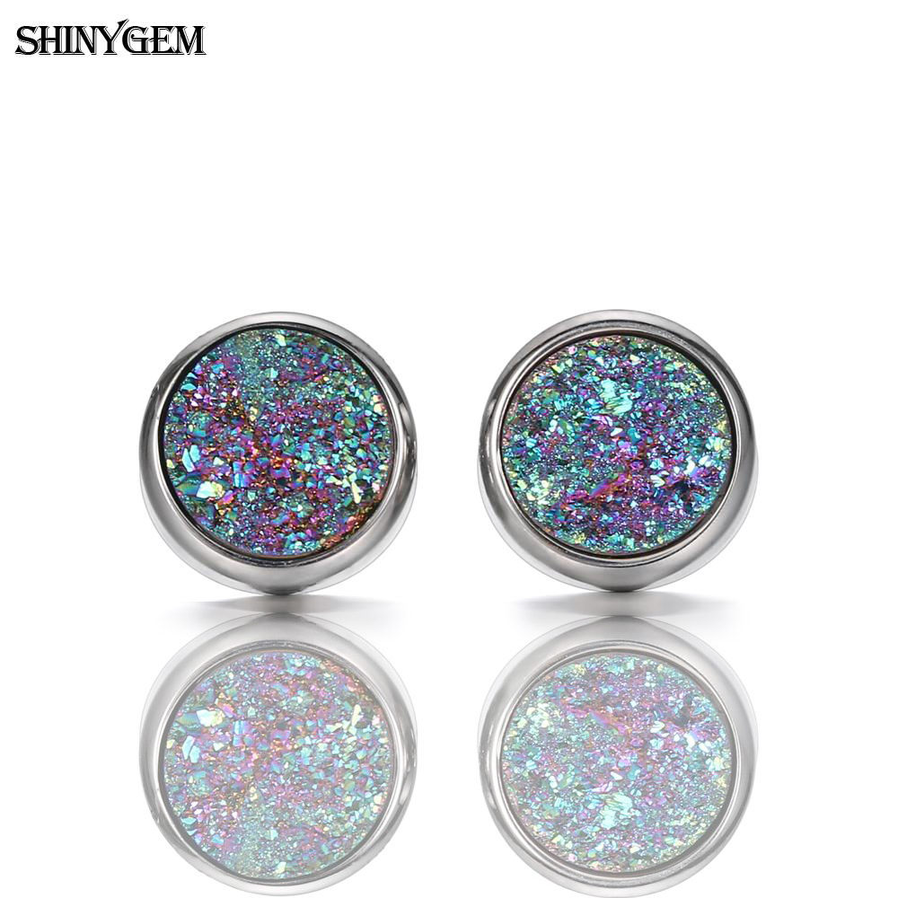 ShinyGem Stainless Steel Druzy Stud Earrings High Quality 6mm/8mm/10mm Round Fashion Sparkling Natural Stone Earrings For Women