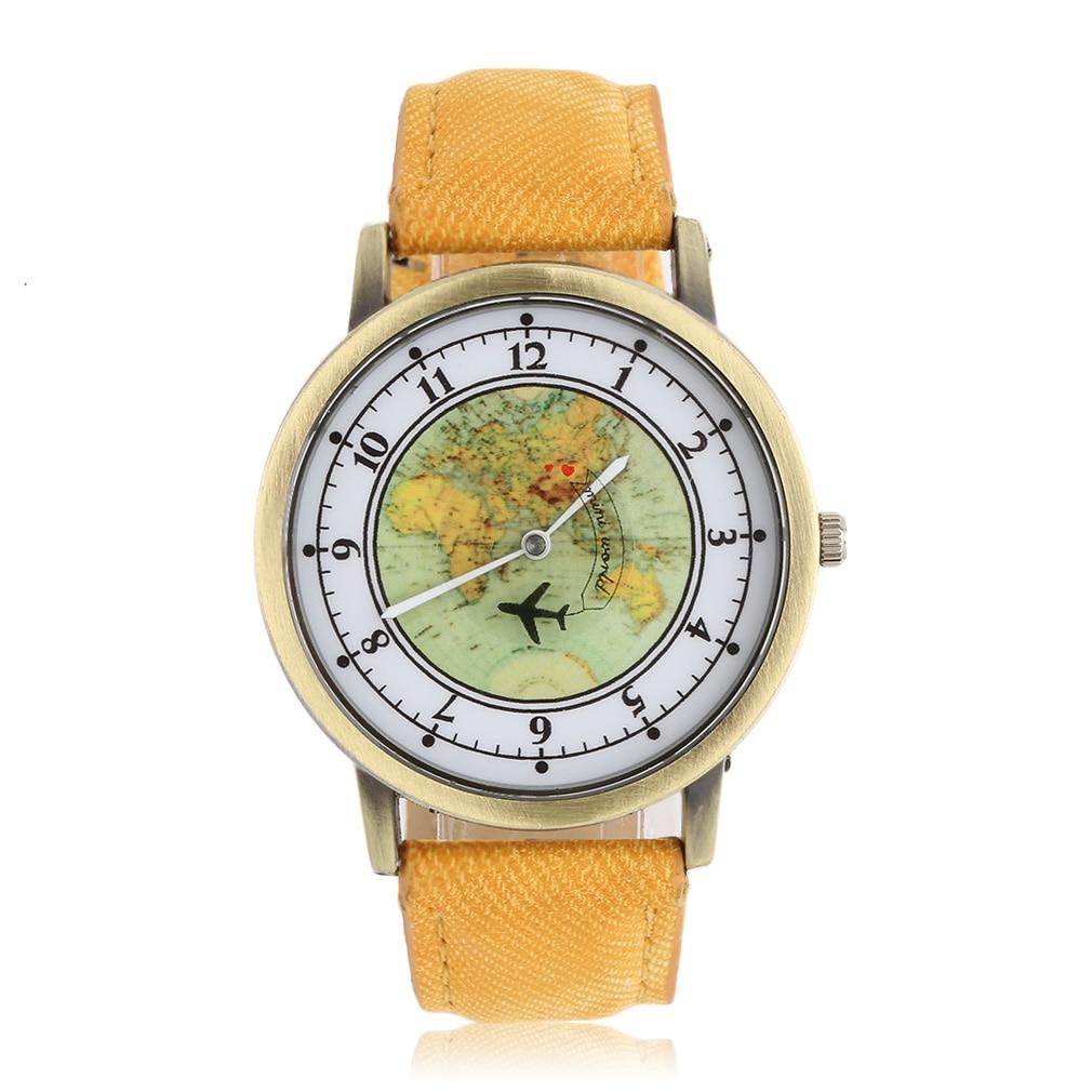 Unisex Golden Round Shell World Map By Plane Watch Date Quartz Denim Fabric Wristwatch Analog Fashion Mujer Relogio Feminino