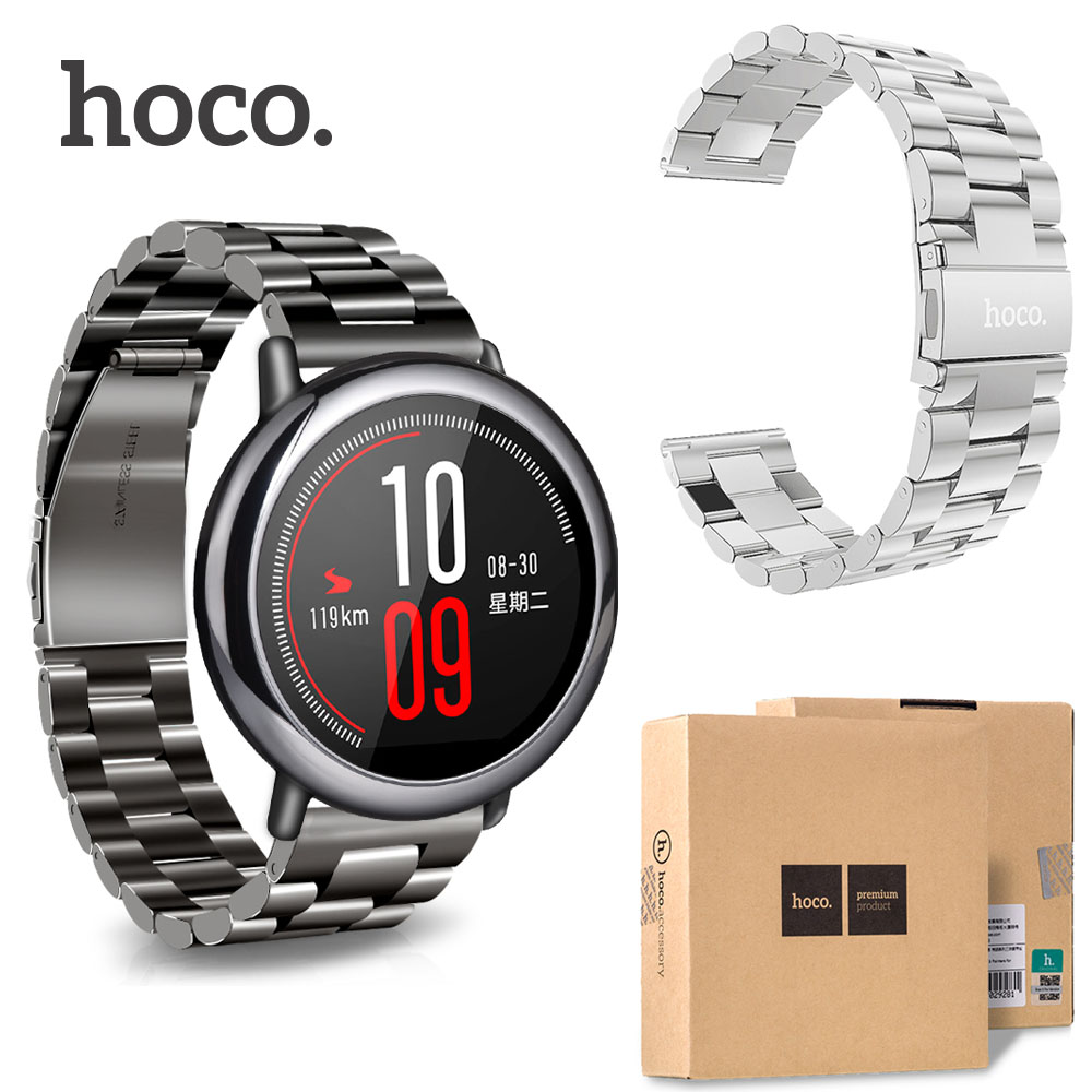 Original HOCO Stainless Steel Watch Band for Xiaomi Huami AMAZFIT Sports Smart Watch Replacement Bracelet Strap 22mm original replacement strap for xiaomi huami amazfit sport smart watch original replacement wristband for xiaomi huami amazfit