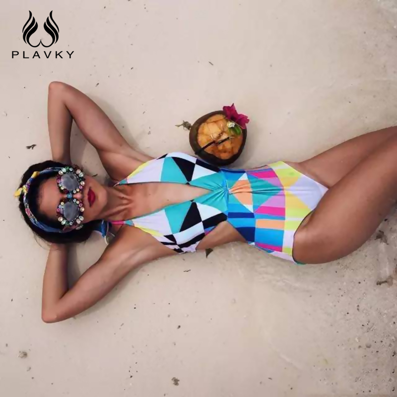 PLAVKY Sexy Deep V Geometric Backless Trikini Hollow Out Swim Bathing Suit High Cut Monokini Swimwear Women One Piece Swimsuit ratio sexy high cut swimsuit backless swimwear women one piece bathing suit cut out sides body suit trikini monokini badpak