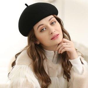 Image 3 - Lady Autumn And Winter Grace Restore Solid Woolen Hats Women Banqute Pure Wool Felt Beret Caps