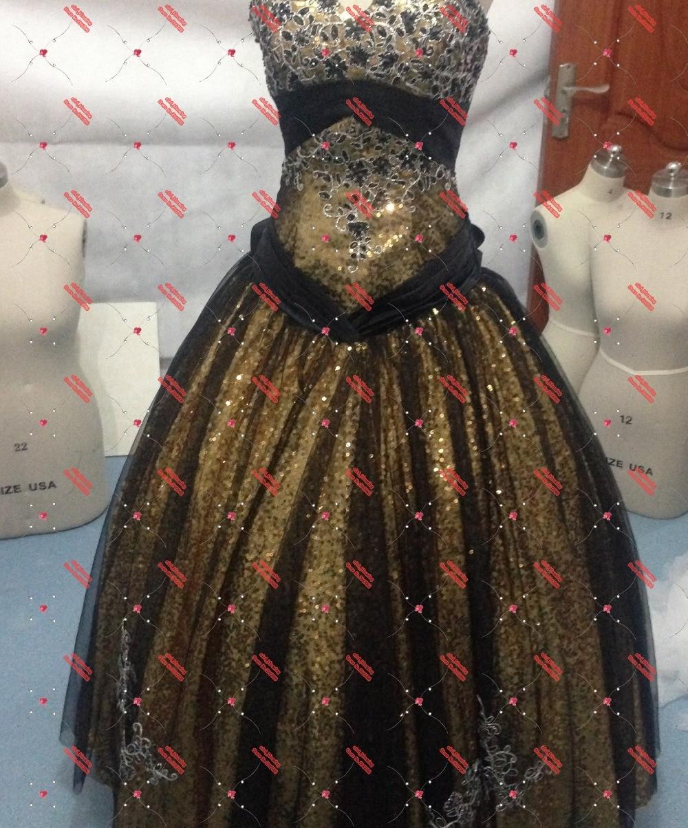 Vampire Diaries Gold und schwarze Kleider Gothic Gown Real - Hochzeitsparty Kleider - Foto 3