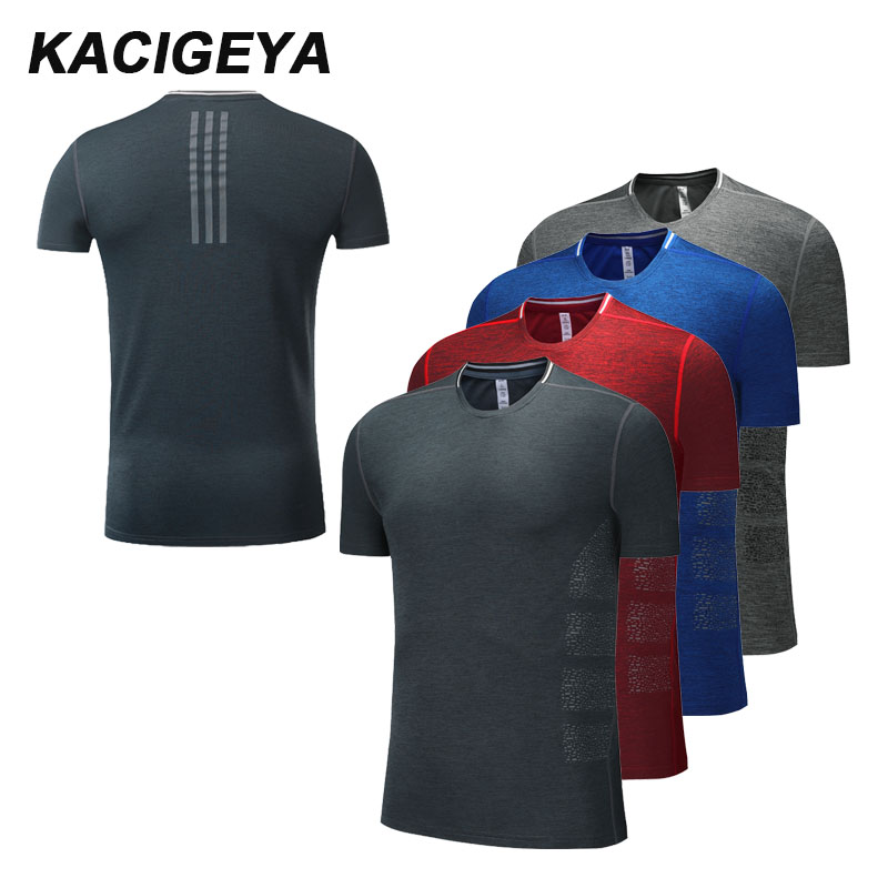Male Running T-shirt Compression Fitness Workout Shirts Gym Quick Dry Sports Print Short Sleeves Training 2018 Men Gym Shirts