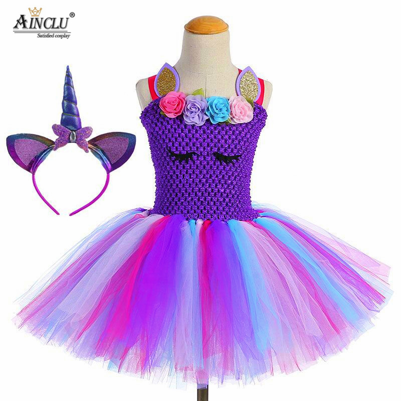 Purple Unicorn Tutu Dress Baby Kids Girls Flowers Birthday Masquerade Party Dresses Child Purim Day Halloween Christmas Costume