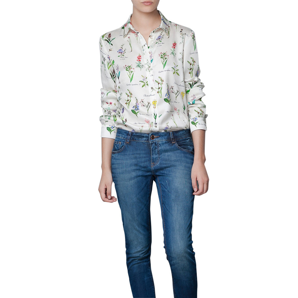 fashion womens casual flowers long sleeve button down