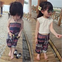 2016 New Girls Summer Casual Clothes Cotton Casual Floral Jumpsuit Children Short Sleeve White T shirt