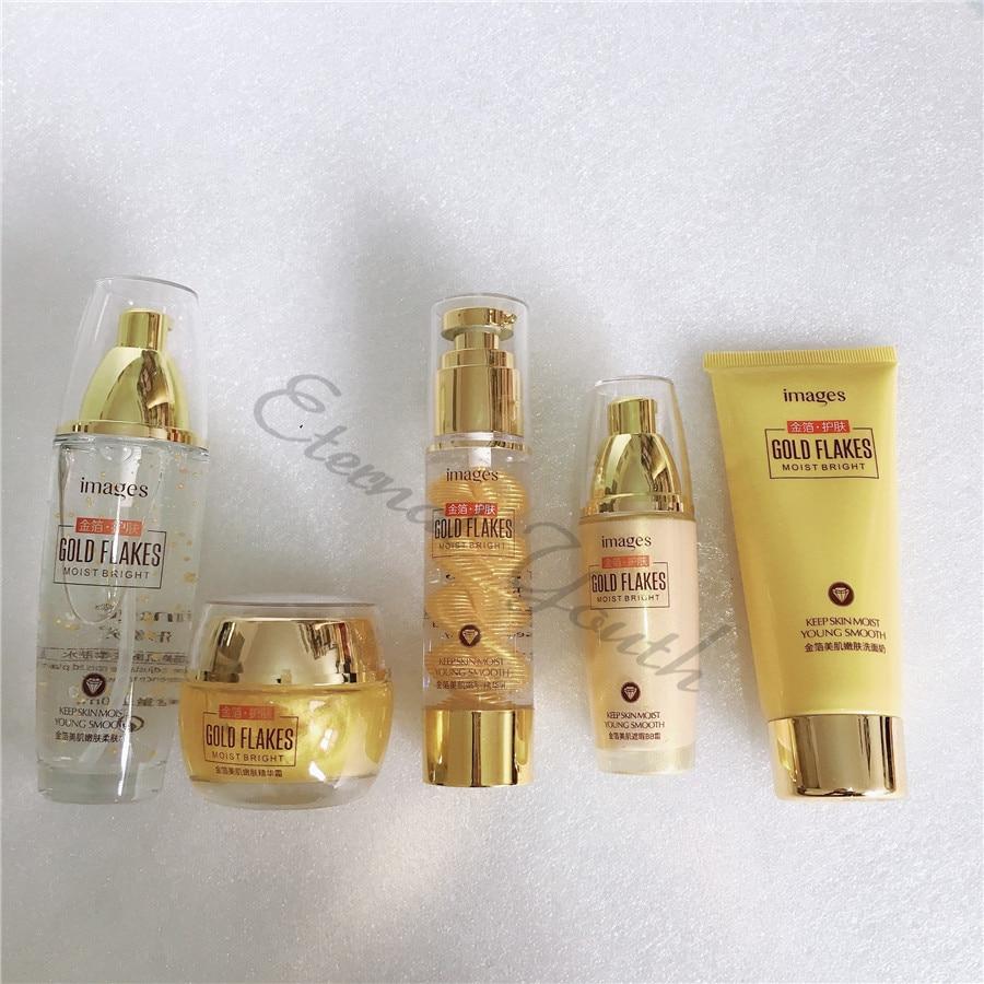 5pieces Set 24k Gold Skin Care Set Super Bright Cleanser Toner Serum Lotion BB Cream Moisturizing Anti-aging Spots Freckle