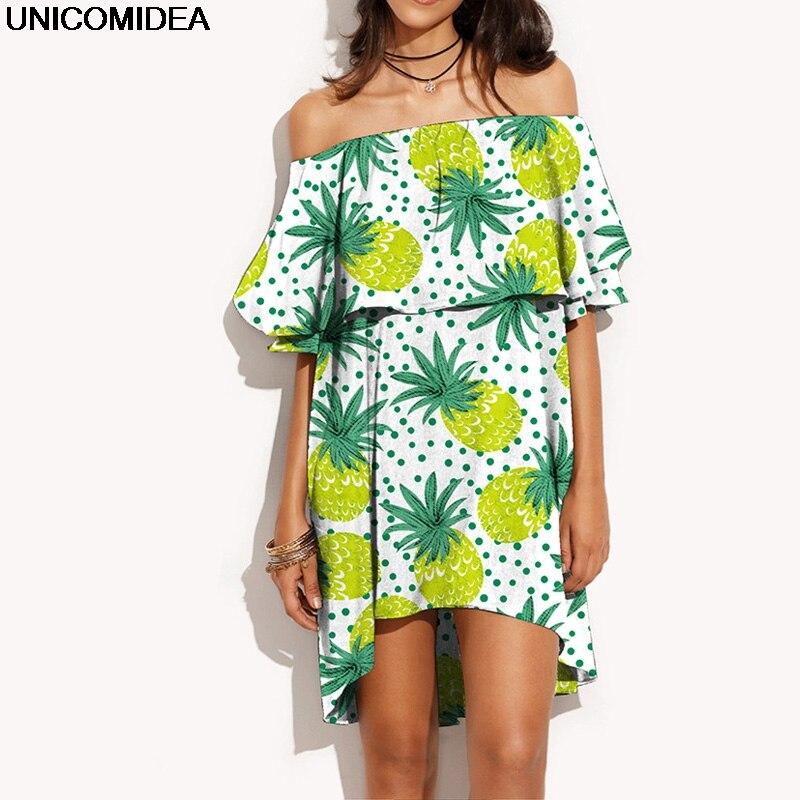 Ruffles Slash Neck Dress Women Summer Off Shoulder Fruit Printed Sexy Dress Robe Casual Short Boho Beach Dress Vestidos 2018