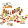 Unisex Baby Kid 28 PCS Animais Dominó Blocos de Madeira do Brinquedo Seguro dominó Brinquedos Educativos Presente para Criança Acima de 3 Anos de Idade FCI #