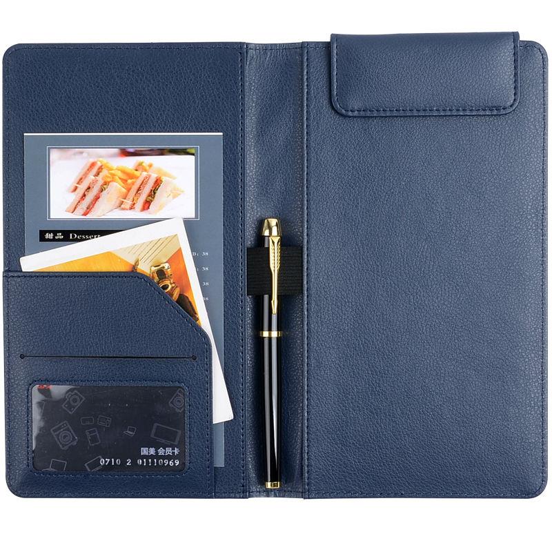 50 PCS/Lot Navy Color Check Book Dark Blue Restaurant Receipt Holder PU Leather Bill Holder Accept Customized