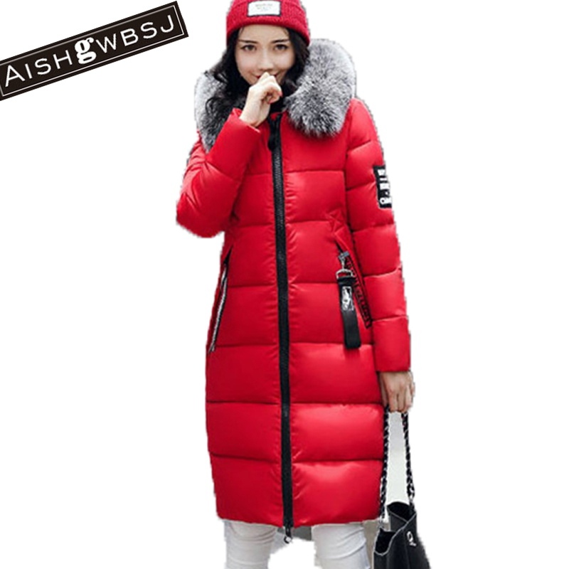 AISHGWBSJ Female Hooded Padded-Cotton Parkas Fur Collar Long Coats 2017 New Winter Cotton Jackets For Women Warm Overwear PL126 aishgwbsj winter women jacket 2017 new hooded female cotton coats padded fur collar parkas plus size overcoats pl155