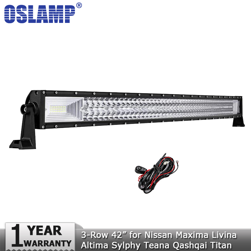 Oslamp 594W 3-row 42inch Curved LED Light Bar Offroad Led Work Lamp 12v 24v for Nissan Maxima Sylphy Livina Titan Teana Altima new car styling 2d led light logo auto emblems 3colors for nissan qashqai sylphy sentra teana altima best quality free shipping