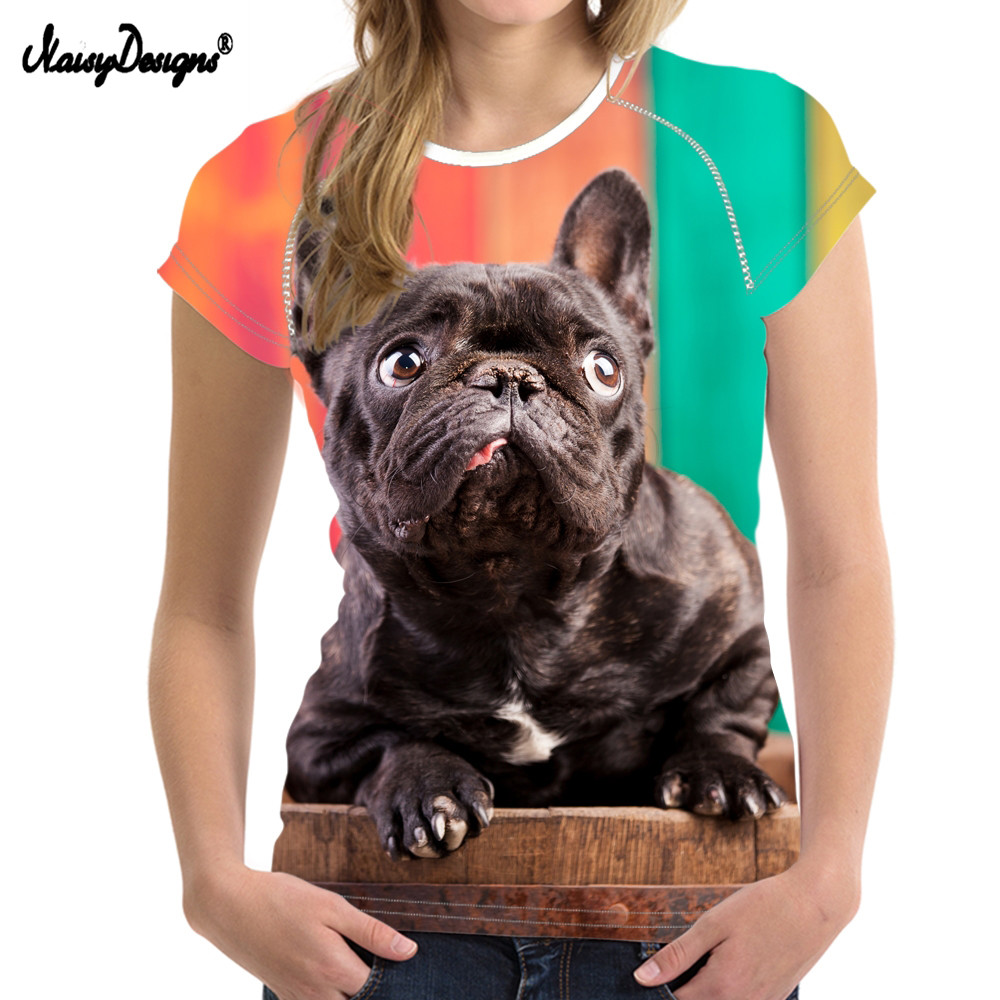 NoisyDesigns Funny 3D Dog French Bulldog Print Women T Shirts Fashion Summer Short Sleeve Tops Tee Elastic Girl bts Kpop T-shirt