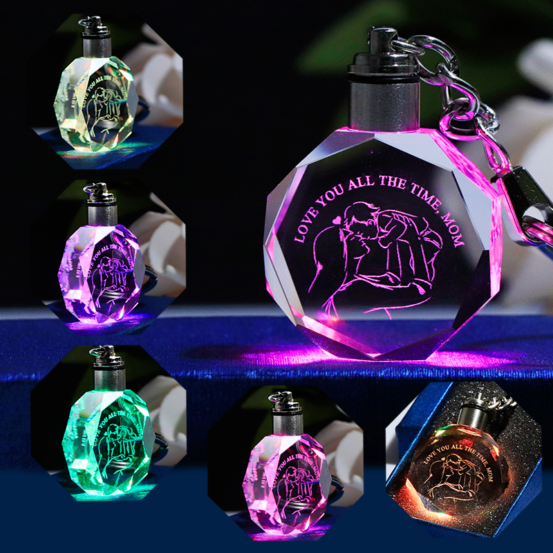 Crystal Key Chain for Mom Glass Key Ring Laser Engraved Colorful LED Key Pendant Gifts Souvenirs Keychian for Mother in Key Chains from Jewelry Accessories