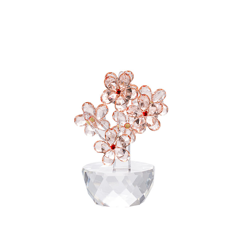 Pink Glass Blossom Fashion Crystal Flower Personalised Rose Ornaments Home Decoration Accessories Modern Wholesale