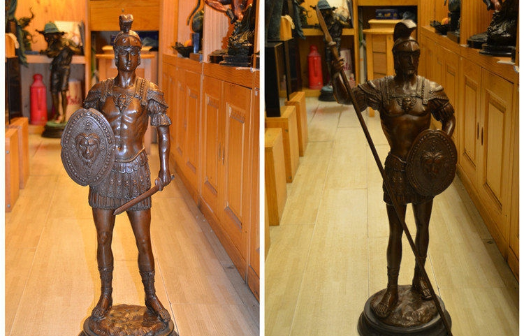 Art Deco Sculpture European Samurai Bronze Statue