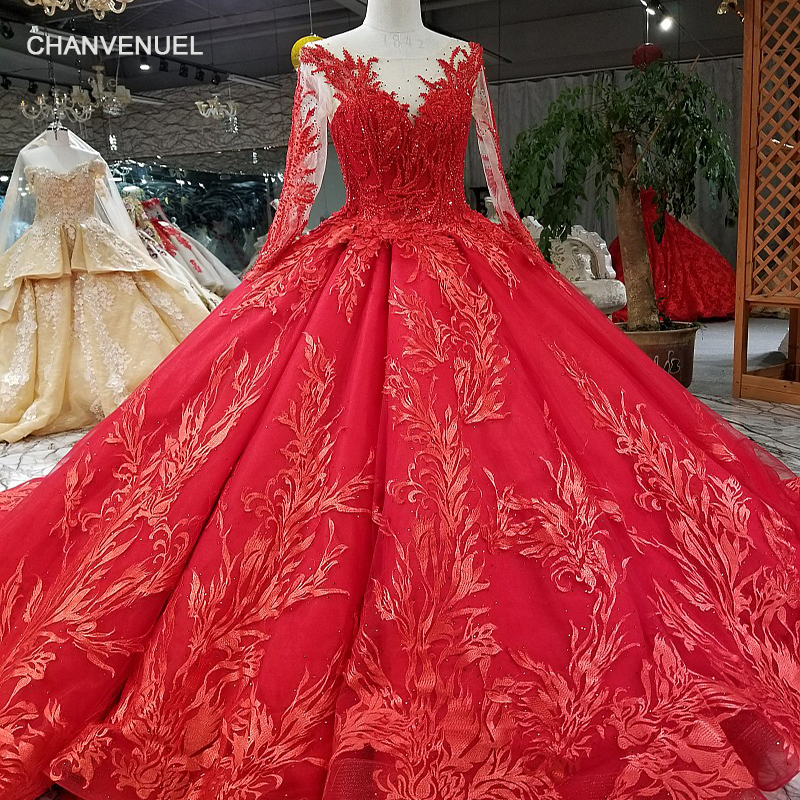 LS02166 luxury lace ball gown   evening     dress   long tulle sleeve O-neck lace up back appliques   evening     dress   2018 for wedding party