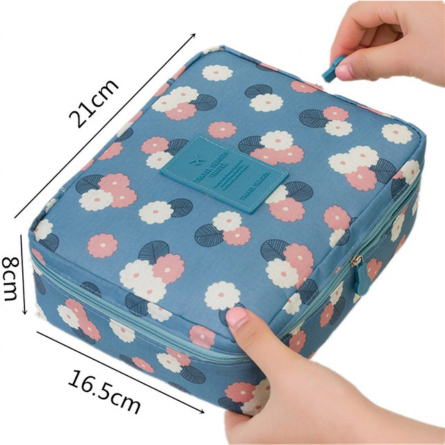 DINMIWELLWomen Makeup bag Cosmetic bag Case Make Up Organizer Toiletry Storage  Rushed Floral Nylon Zipper New Travel Wash pouch