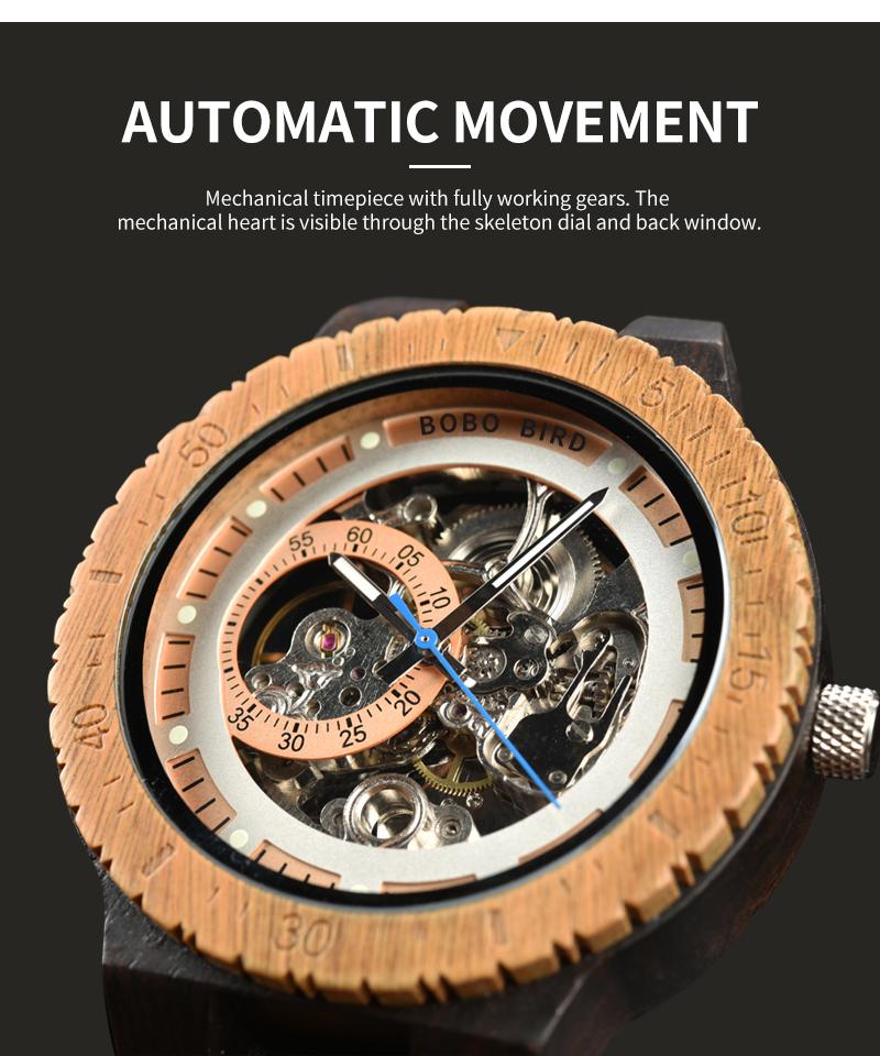 Reloj mecánico de madera caja de diseño Retro 2