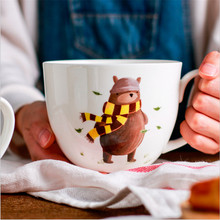 Cartoon Cute Bear Printed Ceramic Coffee Milk Mug Big Caliber Large Capacity Ice Cream Fruit oatmeal Juice Cup Gifts