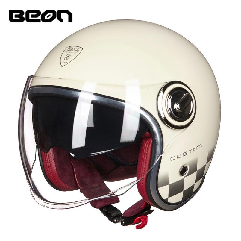 BEON Open Face Vintage Motorcycle Helmet Casque Jet Retro Moto Bobber Cruiser Motorsiklet Helm Kask Helmets
