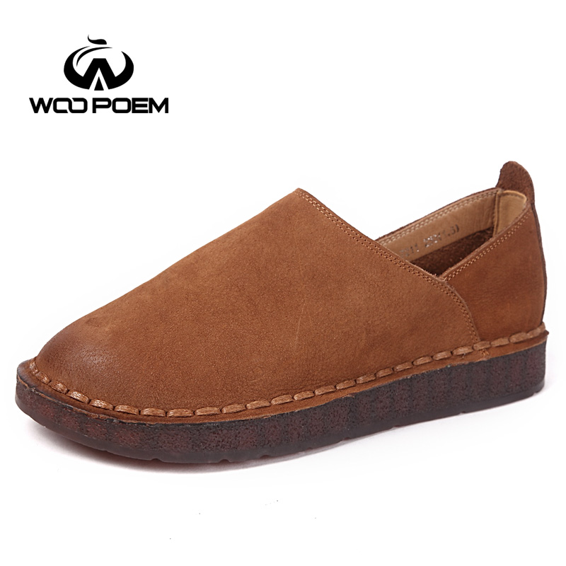 WooPoem Spring Shoes Woman Genuine Leather Flats Slip-On Low Heel Cow Muscle Sole Comfortable Soft Sole Sewing Women Shoes 8721 fashion baby flats tassel soft sole cow leather shoes infant boy girl flats toddler moccasin 17mar20