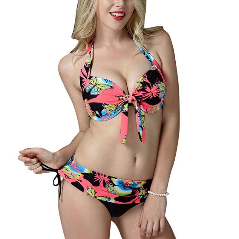 Big Size Womens Butterfly Print Bikini Top & Panties Bikini Set Swimwear Hot Sales in Russia Europe America Swimsuit 50 52 54 56 swimsuit top